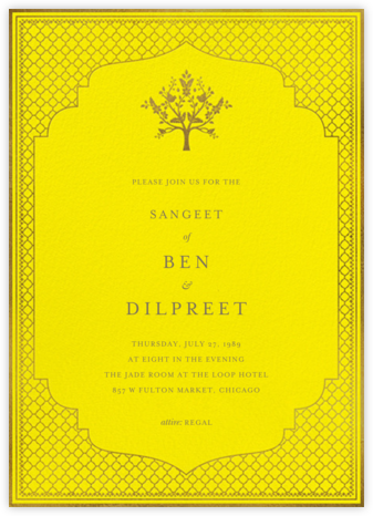 Abhitha (Sangeet) - Yellow - Anita Dongre - Wedding invitations