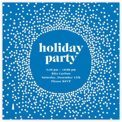 Reverse Snow Globe (Square) - Lapis - Cheree Berry - Holiday party invitations