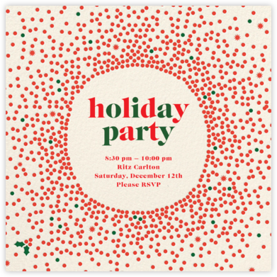Reverse Snow Globe (Square) - Cream - Cheree Berry - Holiday party invitations