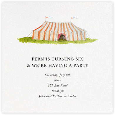 Circus Tent - Felix Doolittle - Kids' birthday invitations
