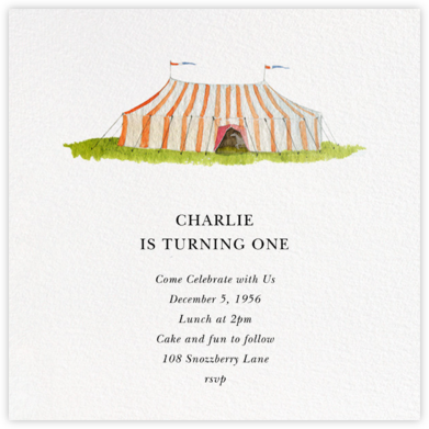 Circus Tent - Felix Doolittle - Adult Birthday Invitations