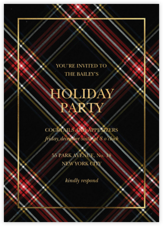 Tartan Wrap - Sugar Paper - Holiday party invitations