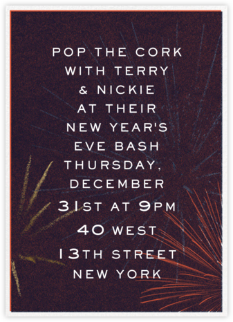 Festive Fireworks - Eggplant - Paperless Post - New Year's Eve Invitations