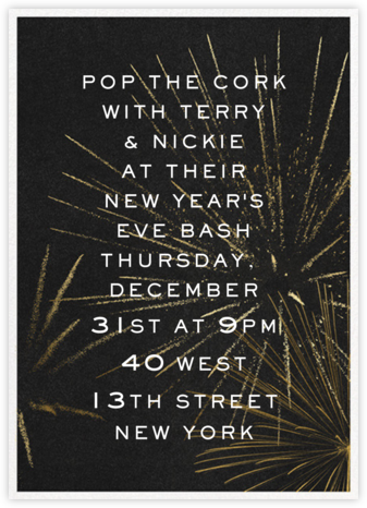 Festive Fireworks - Black - Paperless Post - New Year's Eve Invitations