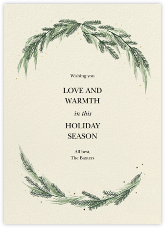Greenery Frame - Cream - Paperless Post - Holiday Cards