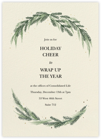 Greenery Frame - Cream - Paperless Post - Holiday invitations