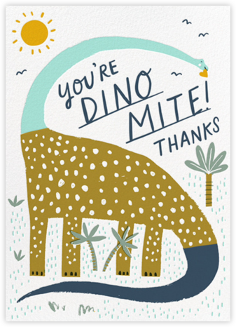 Dinos Might (Greeting) - Blue - Hello!Lucky - Online Thank You Cards