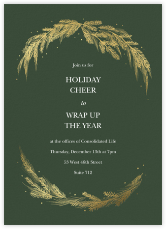 Greenery Frame - Greenwood - Paperless Post - Holiday party invitations