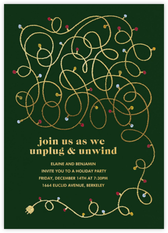 Unplug - Hunter Green - Paperless Post - Holiday party invitations