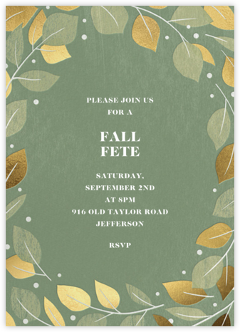 Gathered Leaves - Palm - Paperless Post - Fall Entertaining Invitations