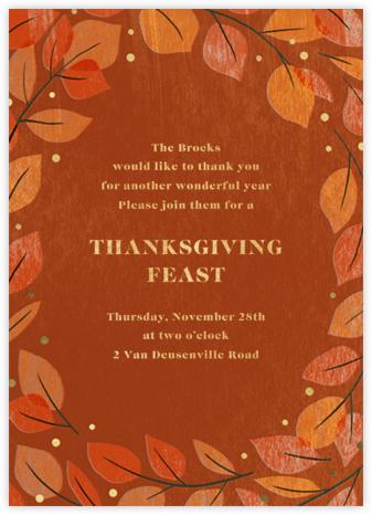 Gathered Leaves - Burnt Caramel - Paperless Post - Thanksgiving invitations