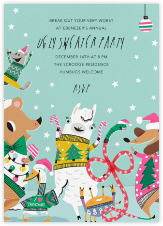 Sweater Party Animals - Hello!Lucky - Holiday party invitations
