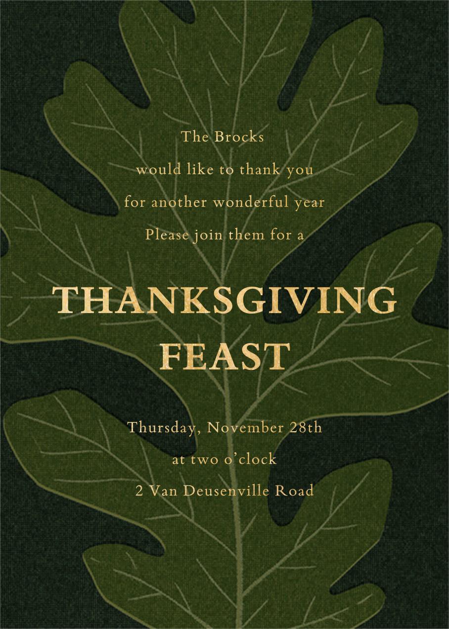 Pressed Oak - Green Gold - Paperless Post - Thanksgiving invitations