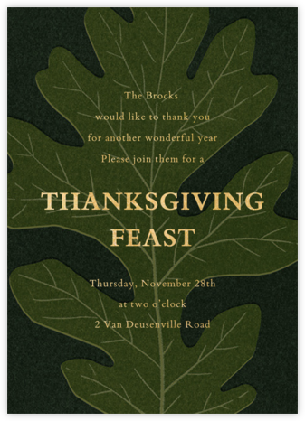 Pressed Oak - Green Gold - Paperless Post - Thanksgiving invitations