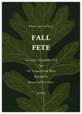 Pressed Oak - Green Gold - Paperless Post - Autumn entertaining invitations