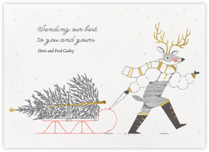 Reindeer Sleigh - Paperless Post - Holiday Cards