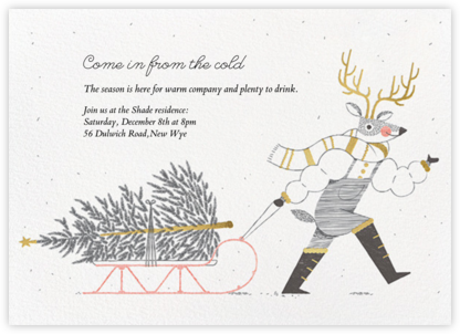Reindeer Sleigh - Paperless Post - Holiday invitations