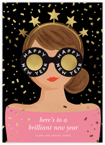 New Year Girl - Pink - Rifle Paper Co. - New Year cards