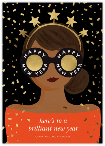 New Year Girl - Red - Rifle Paper Co. - Holiday cards