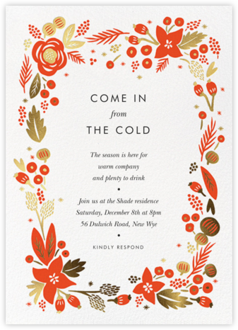 Poinsettia Wreath (Tall) - White - Rifle Paper Co. - Winter Party Invitations