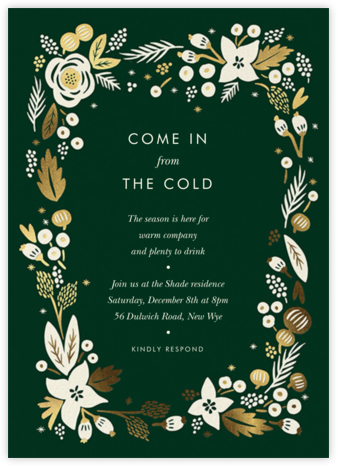 Poinsettia Wreath (Tall) - Hunter - Rifle Paper Co. - Winter Party Invitations