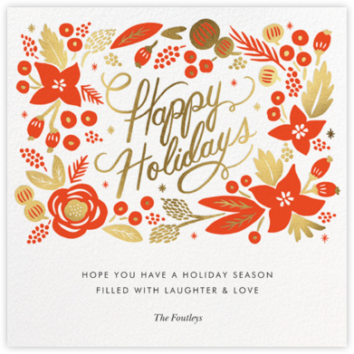 Poinsettia Wreath (Square) - White - Rifle Paper Co. - Holiday Cards