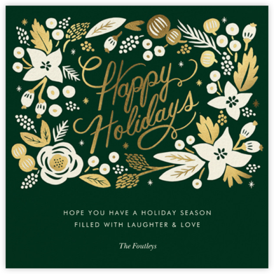 Poinsettia Wreath (Square) - Hunter - Rifle Paper Co. - Holiday cards