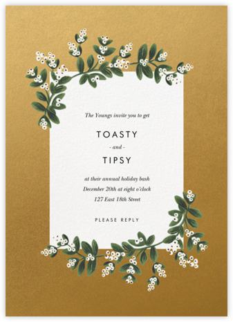 Mistletoe Accent Flourish - Gold - Rifle Paper Co. - Winter Party Invitations