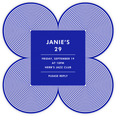 Melrose - Blue - Jonathan Adler - Adult Birthday Invitations