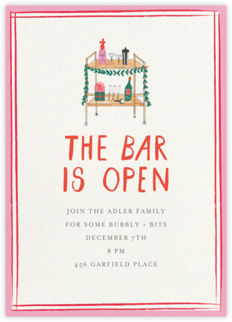 Holly Jolly Bar Cart - Mr. Boddington's Studio - Holiday invitations