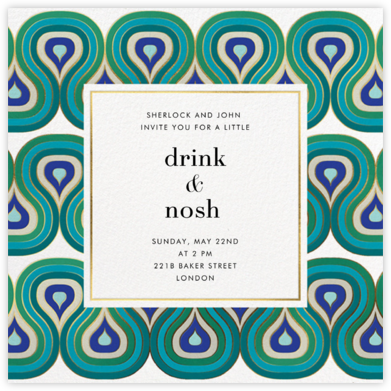 Peacocking - Teal - Jonathan Adler - Summer Party Invitations