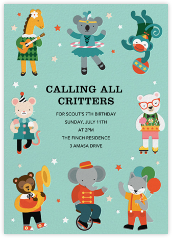 Critter Crew - Petit Collage - Kids' birthday invitations