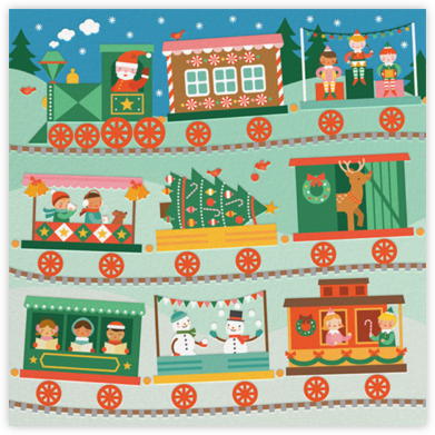 Santa Train - Petit Collage - Holiday cards