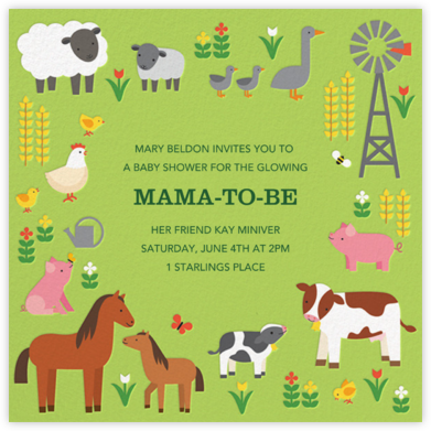 Family Farm - Petit Collage - Baby shower invitations