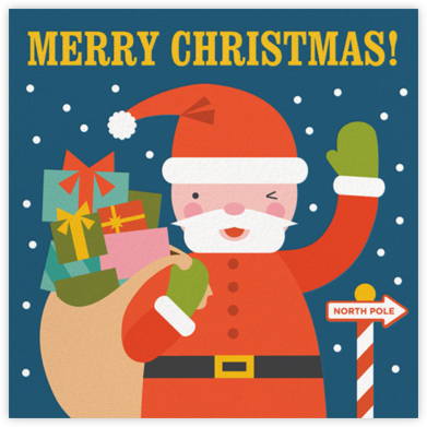 Winking Santa - Petit Collage - Holiday cards