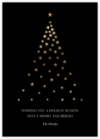 Starry Tree - Black - Paperless Post - Christmas Cards