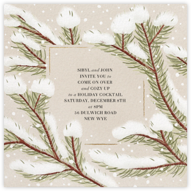 Snowy Pines - Paperless Post - Holiday invitations