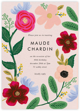Wild Rose - Rifle Paper Co. - Adult Birthday Invitations