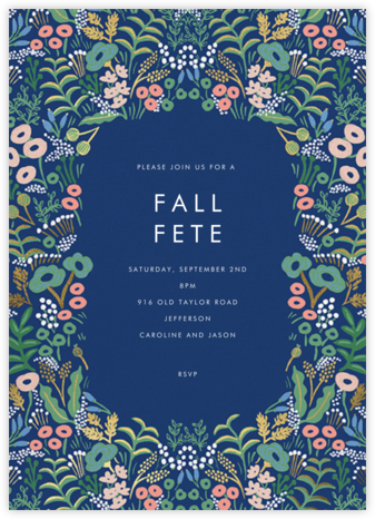 Floral Tapestry - Lapis - Rifle Paper Co. - Fall Entertaining Invitations