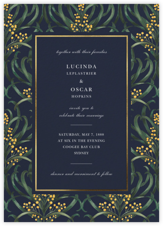 Flowering Mimosa (Invitation) - Navy - Oscar de la Renta - Wedding Invitations