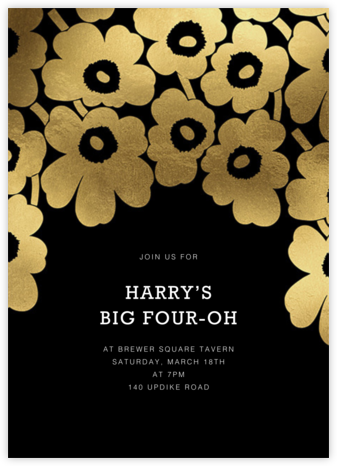 Gold Unikko - Black - Marimekko - Adult Birthday Invitations