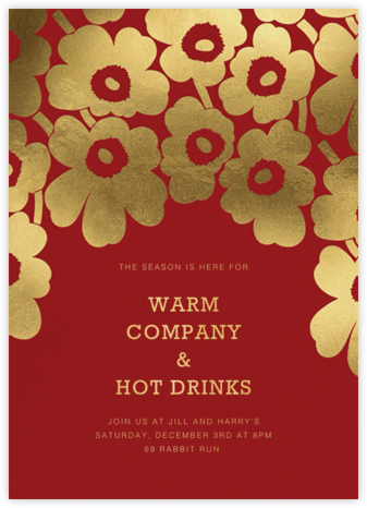 Gold Unikko - Crimson - Marimekko - Winter Party Invitations