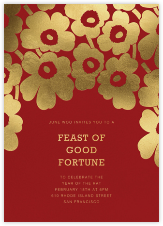 Gold Unikko - Crimson - Marimekko - Lunar New Year invitations
