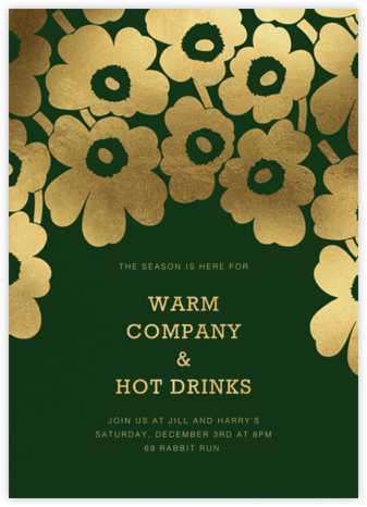 Gold Unikko - Hunter - Marimekko - Winter Party Invitations