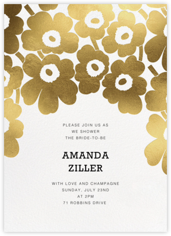 Gold Unikko - White - Marimekko - Bridal shower invitations