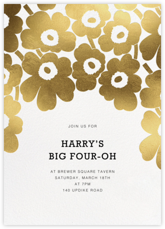 Gold Unikko - White - Marimekko - Adult Birthday Invitations