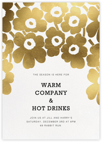 Gold Unikko - White - Marimekko - Winter Party Invitations