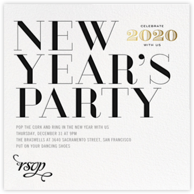 Etched New Year - bluepoolroad - New Year's Eve Invitations