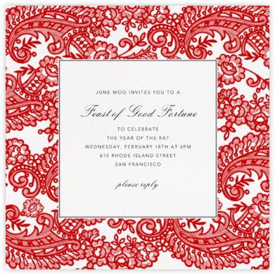 Filigree Lace (Square) - Vermillion - Oscar de la Renta - Lunar New Year Invitations