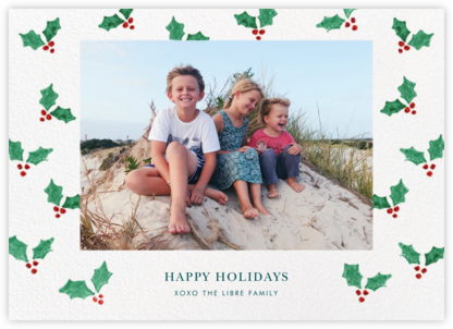 Holly Frame - Linda and Harriett - Photo Christmas cards